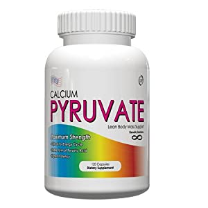 Calcium Pyruvate- Fat Burning Formula for Thighs, 1000mg Daily, 120 Capsules, 500mg per capsule, Calcium Pyruvate by Genetic Solutions