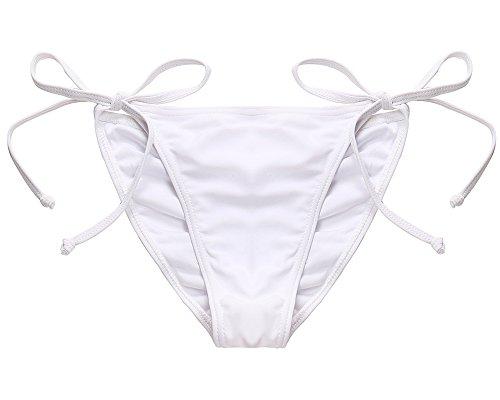 MissTalk Mujeres Cheeky Tanga Parte de abajo bikini de baño trajes Beachwear Blanco#2