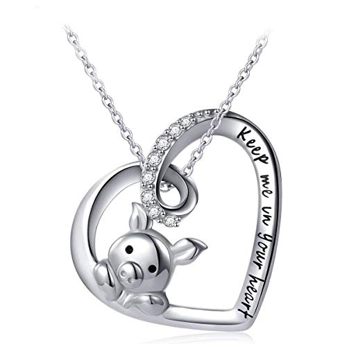 (Cladtina Heart Pendant Necklace 925 Sterling Silver Cute Pig Pendant Necklace Engraved Keep Me in Your Heart for Women Girls Jewelry Birthday Gift)