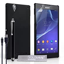 Yousave Accessories Sony Xperia T2 Ultra Case Black Hard Hybrid Cover With Stylus Pen And Micro USB Cable