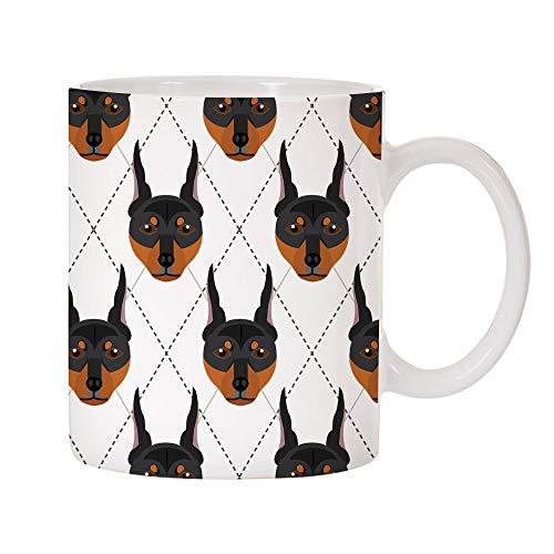 Mystic Sloth Adorable Dog Breed Specific Argyle Pattern 11oz Ceramic Coffee Mug (Doberman Pinscher) ()