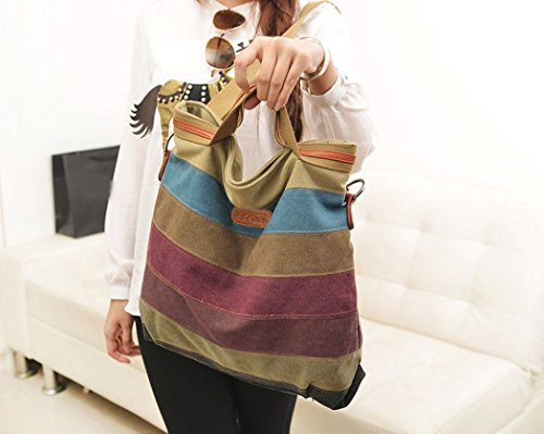 Shoulder Coofit Handbags Handbag Shopper Bag Women's for Coofit Canvas Tote Multi Color Ladies Stripe OqzarwO
