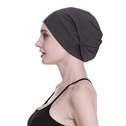 FocusCare Satin Lined Sleep Cap Casual Slouchy Bonnet Headwear Curly Hair Beanie  Hats Dark Heather Gray 2cd437d0835