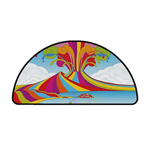 Volcano Comfortable Semicircle Mat,Skyline of Naples and Vesuvio in Rainbow Eruption Themed Artistic Illustration Decorative for Living Room,25.9