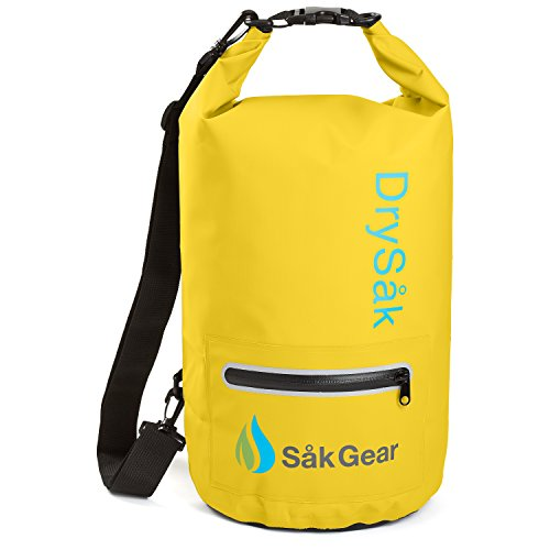 DrySak Premium Waterproof Dry Bag with Exterior Zip Pocket | Keeps Gear Safe & Dry During Watersports & Outdoor Activities | Rugged 500D PVC with Shoulder Strap & Reflective Trim | 10L (Water Dive Gear)