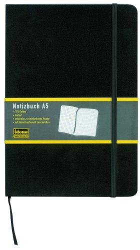 Idena Notizbuch A5 Schwarz, Kariert