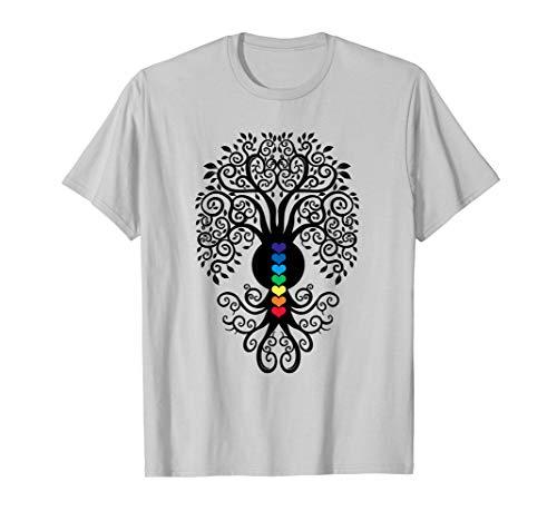 (Bodhi Tree with 7 Heart Chakras Yoga Tshirt)