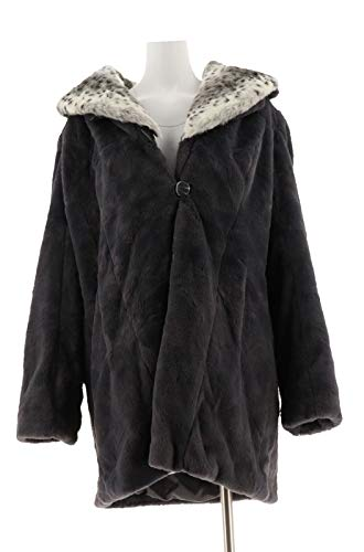 Dennis Basso Faux Fur Shawl Collar Coat Removable Hood Collar Grey S New A286325