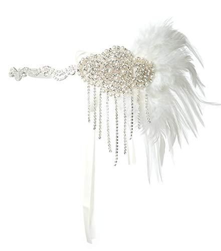 1920s Accessories Black Gold Flapper Headband 1920s Headpiece Great Gatsby Costume Accessories (Silver and -