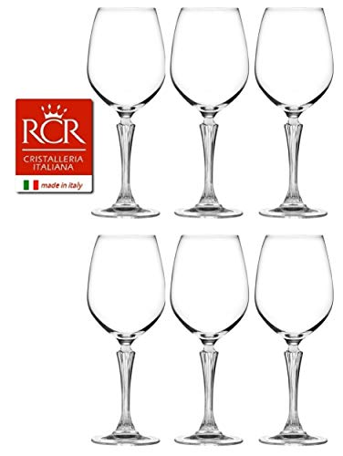 RCR Cristalleria Italiana Aria Collection 6 Piece Crystal Wine Glass Set (Glamour White Wine (16 oz))
