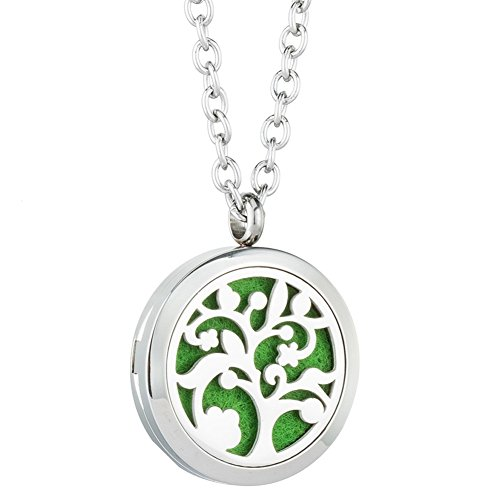 Jenia Tree of Life Essential Oil Diffuser Necklace - Aromatherapy Pendant Stainless Steel Locket Fragrance Jewelry for Women, Kids, Child, Men, Teen Girls Gifts