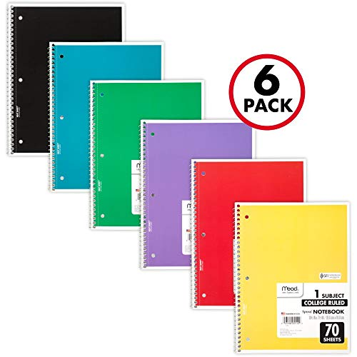 (Mead Spiral Notebooks, 1 Subject, College Ruled Paper, 70 Sheets, 10-1/2