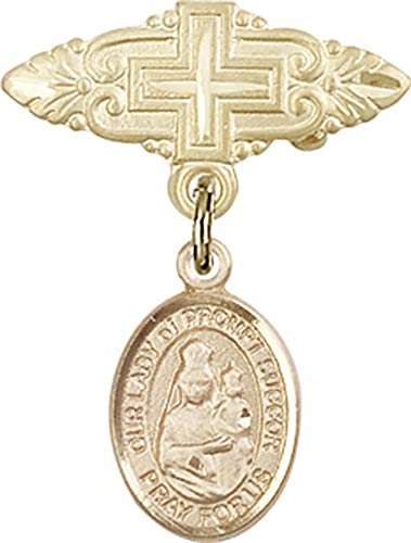 14kt Gold Baby Badge with O/L of Prompt Succor Charm and Badge Pin with Cross O/L of Prompt Succor is the Patron Saint of New Orleans, LA 1 X 3/4 ()