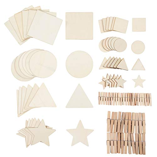 100-Piece Unfinished Wood Shapes Assortment with Clothespins - Square Circle Star Triangle Cutouts, for Kids DIY Craft, 2 and 4 Inches