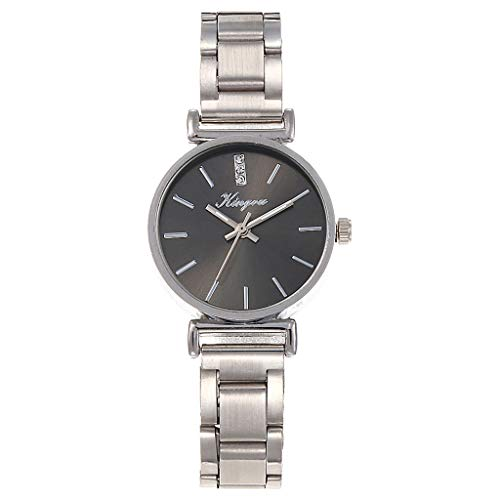 Watch Bracelet for Womens Young Girls, Women Alloy Steel Belt Casual Watch Geneva Simple Steel Belt Watch (D)