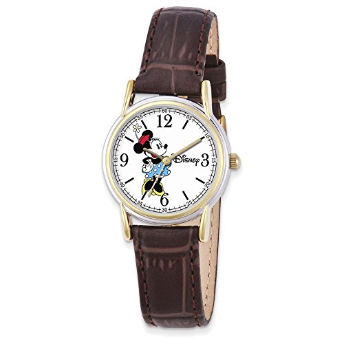 Jewelry Adviser Watches Disney Adult Size Brown Leather Strap Minnie Mouse Watch