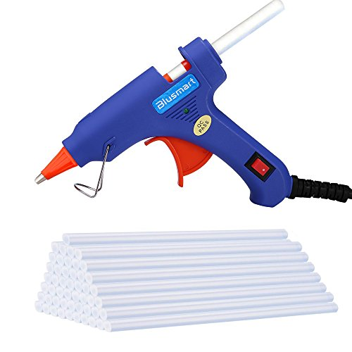 Blusmart Upgraded Mini Hot Glue Gun with 30 Pieces Melt Glue Sticks, 20 Watts Blue High Temperature Glue Gun for DIY Craft Projects and Repair Kit