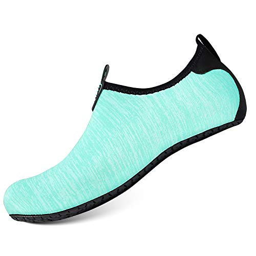 Heeta Water Sports Shoes for Women Men Quick Dry Aqua Socks Swim Barefoot Pool Beach Shoes for All Water Sport Light Blue_E S by Heeta