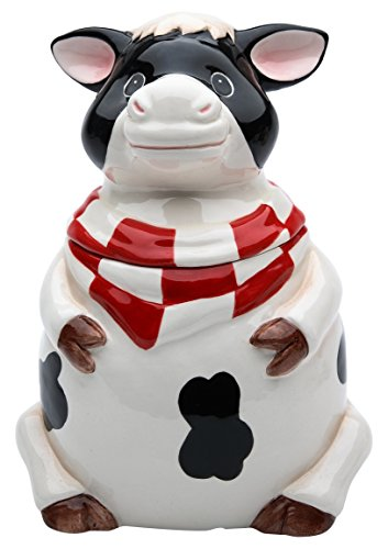 StealStreet SS-CG-61759, 6.75 Inch Sitting Black and White Cow with Bandana Candy Jar (Jars Cookie Cow)