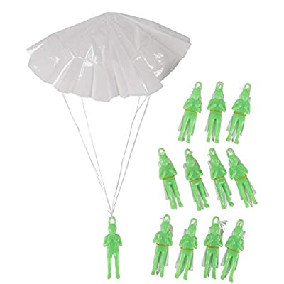 Mini Parachute Army Men - 12-Pack Glow in the Dark Paratrooper with Parachute Toy Set, Airborne Light-Up Action Figure for Kids, Gifts, Military Themed Party Favors, Goody Bag Stuffers, 4 Inches Tall: Home & Kitchen
