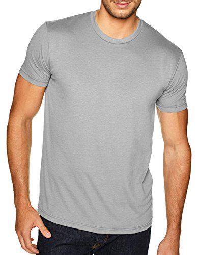 Next Level Apparel 6410 Mens Premium Fitted Sueded Crew Tee - Light Gray44; Large - Premium T-shirts Short