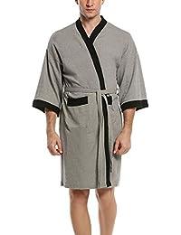 Mens/Womens Robe Waffle Kimono Robes Lightweight Spa Bathrobe Terry Cloth Robe M-XL