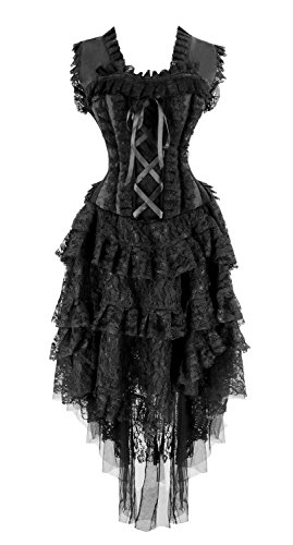 Steampunk Fancy Dress Costumes (Kimring Women's Vintage Saloon Girl Corset Dress Halloween Cancan Dancer Showgirl Costume Black Large)