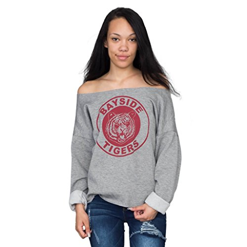 Saved by the Bell Kelly Kapowski Bayside Off the Shoulder Gray Juniors/Ladies Sweatshirt