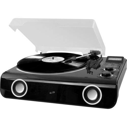 iLive Classic Style Bluetooth 3-Speed Turntable with Digital FM Radio, 45 RPM Adapter Included (ITTB775B)