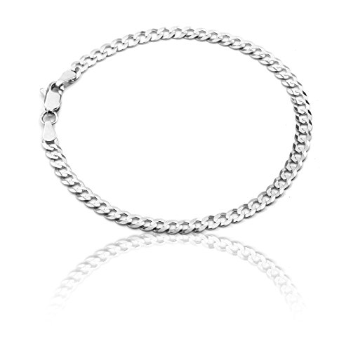 8 Inch 10k White Gold Curb Cuban Chain Bracelet for Men and Women, 0.16 Inch (4mm) by SL Gold Imports