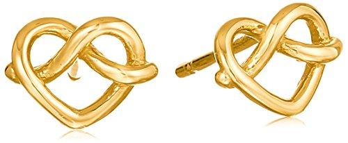 Gold Italian Heart - 14k Italian Yellow Gold Heart Stud Earrings