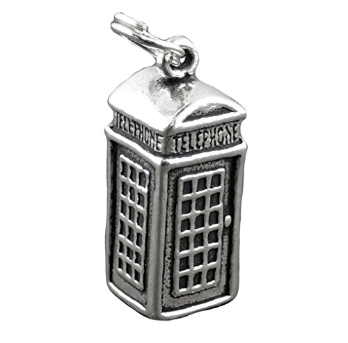 Sterling Silver Telephone (Corinna-Maria 925 Sterling Silver British Telephone Booth Charm)