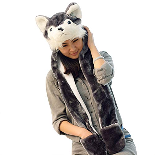 Kids 3-in-1 Function Cartoon Hood Earflap Cap Hat Scarf Gloves Mittens Set Furry Hoodie Cute Plush Beanie