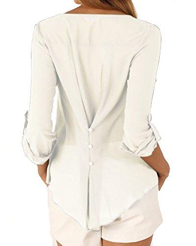 Camicia Lunga Collo Bianco 4 Camicetta Manica T Shirt Bottoni Taglie Maglietta Maglia Elegante A Chiffon Tops Donna Forti V 3 rqYwPr