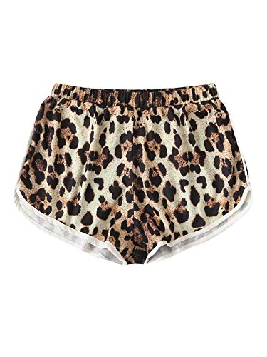 Juniors Leopard - SweatyRocks Women's Dolphin Running Workout Shorts Yoga Sport Fitness Short Pant Leopard Medium