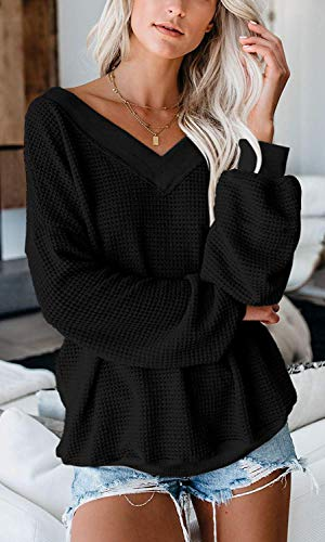 Glanzition Womens Off The Shoulder Tops V Neck Waffle Knit Shirts Long Sleeve