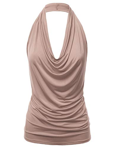 FASHIONOLIC Women's Casual Halter Neck Draped Front Sexy Backless Tank Top (S-3XL) (CLLTJ316) Taupe L Draped Neck Halter Top