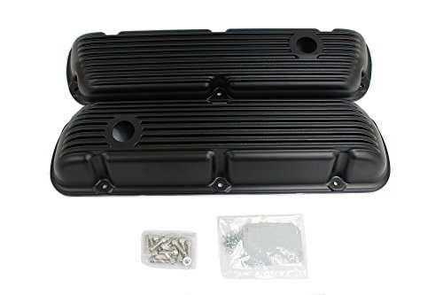 Engine Cover Finned (Small Block Ford SBF 289 302 351W Finned Black Coated Short Valve Covers)