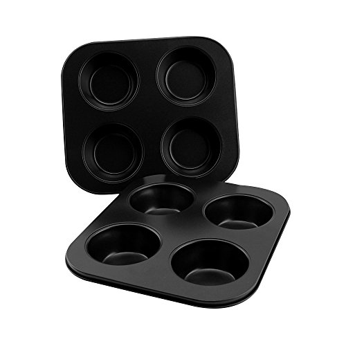 AOGVNA 4-Cup Heavy Carbon Steel Non-Stick Bakeware Cupcake Muffin Pan Baking Tray 2 Pack 8.5 Inch Black