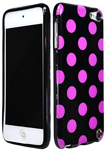 EEA Silicone TPU Polka Dot Case Cover Skin for iPod Touch 5 5th Generation (Black w/ Purple Dots) (Dot Touch Ipod 5 Polka)