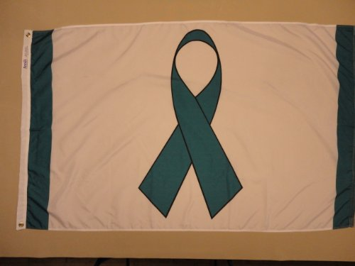 Teal Ribbon Indoor Outdoor Dyed Nylon Flag Grommets 3' X 5'