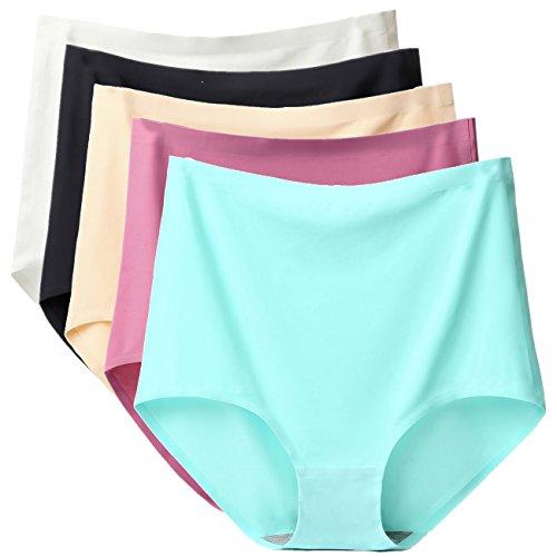 Satin Hip Brief - ARONAS Women's Seamless Underwear 5 Pack High Waist Plus Size Comfortable Briefs Hipster Panties