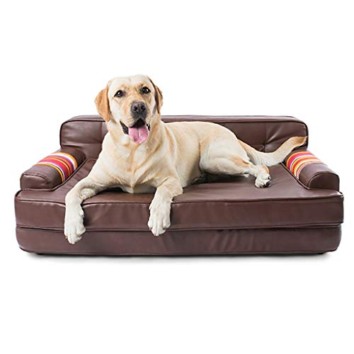 G'z Pet Upholstered Sofa Bed Pet Sofa Lounge Comfortable Puppy Cat Dog Sleeping Home Snuggle Couch Pet Bed with Removable Cover for Indoor Use Solid Color Brown Rectangle Steel Skeleton