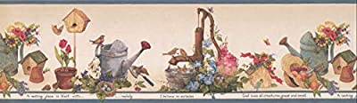 "Wallpaper Border Plants Flowers Watering Birdhouse Gardening Country 7"" x 15' HRB3999"