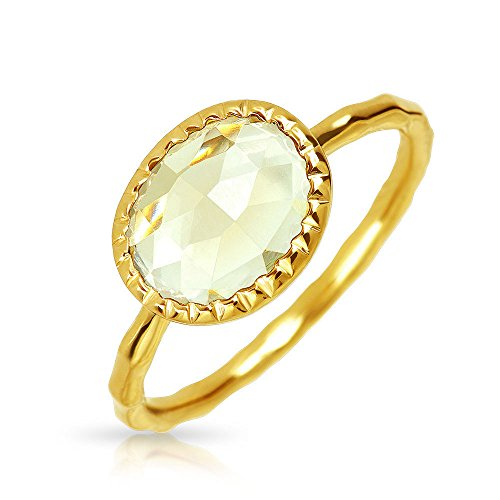 Geometric Boho Oval Lemon Yellow Quartz Ring For Women For Teen Thin Hammered Band 14K Gold Plated Sterling Silver