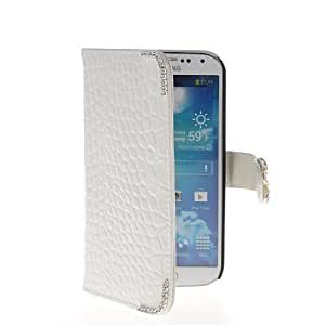 KCASE Crocodile Skin Flip Leather Wallet Card Holder Slim Pouch Case Cover For Samsung Galaxy S4 I9500 White