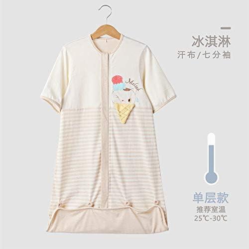 para bebé 70cm printemps et en été bébé sac de couchage réglable en coton à manches à manches sept points saco de dormir