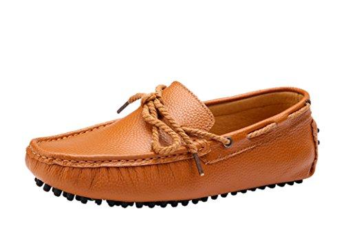 Icegrey Hommes Mocassins Cuir Passant Conduite Chaussures Bateau pour Homme avec Nœud Marron Clair 44 RyEGE5MXpW