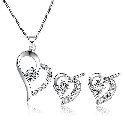 (OneSight Women Love Heart Pendant Necklace Earrings Set, Sterling Silver Jewelry Set Gift for Her)