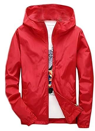 Cruiize Mens Sport Hoodie Loose Solid Lightweight Windbreaker Jacket Red XL